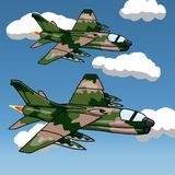 2 US Military aircraft from Vietnam War era. Hand drawn cartoon illustration of 2 US Military aircraft from Vietnam War era on a blue sky with clouds stock illustration