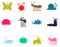 Hand Drawn Cartoon Insects Set Stock Image