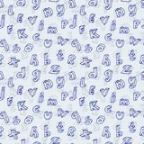 Hand drawn Abc seamless pattern. Hand drawn cartoon isometric letters seamless pattern. Childish vector background illustration in blue over chequered notebook stock illustration