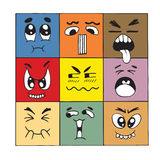Hand drawn cartoon monster faces Stock Image