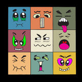 Hand drawn cartoon monster faces Royalty Free Stock Image