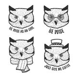Hand drawn cartoon owl head prints set. Vector vintage illustration. Royalty Free Stock Image
