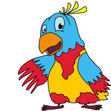 Hand-drawn cartoon parrot Stock Image