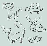 Hand drawn cartoon pets Stock Photos