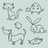 Hand drawn cartoon pets. Illustration Stock Photos