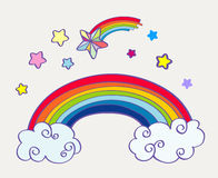 Hand drawn cartoon rainbow, clouds and falling stars Royalty Free Stock Photo