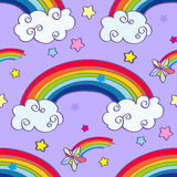 Hand drawn cartoon rainbow, clouds and falling. Stars seamless pattern. Vector illustration Stock Image