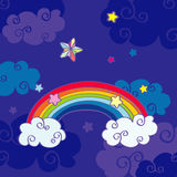 Hand drawn cartoon rainbow and clouds night sky stock illustration