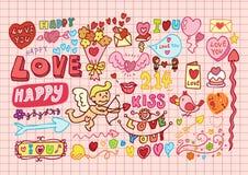 Hand-drawn cartoon romantic se Stock Images