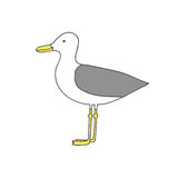 Hand drawn cartoon seagull. Isolated, on white background. Vector flat illustration Stock Photography