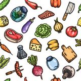 Hand drawn cartoon seamless pattern of food and kitchen stuff. Vector isolated illustrations Royalty Free Stock Photo