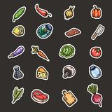 Hand drawn cartoon seamless pattern of food and kitchen stuff. Vector isolated illustrations Stock Images