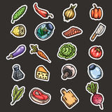 Hand drawn cartoon seamless pattern of food and kitchen stuff. Stock Photos