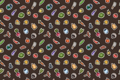 Hand drawn cartoon seamless pattern of food and kitchen stuff. Royalty Free Stock Photos