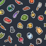 Hand drawn cartoon seamless pattern of food and kitchen stuff. Royalty Free Stock Image