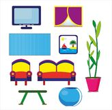 Hand drawn cartoon set of family room on white background Royalty Free Stock Photo