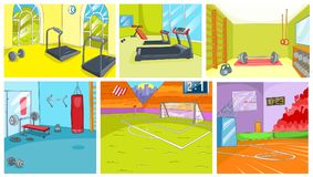 Cartoon set of backgrounds - sport infrastructure Royalty Free Stock Image