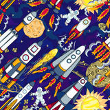 Hand drawn cartoon space seamless pattern Stock Images