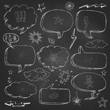Hand drawn cartoon speech bubble on black board Royalty Free Stock Image