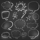 Hand drawn cartoon speech bubble on black board Stock Photography