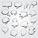 Hand drawn cartoon speech bubbles Stock Photography