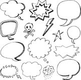 Hand drawn cartoon speech bubbles Stock Photo