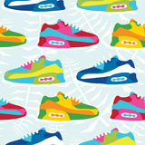 Hand drawn cartoon style hipster sneaker shoes vector seamless pattern Stock Image