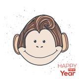 Hand-drawn cartoon style monkey. 2016 the Chinese. Year of Monkey. Postcard, banner, print, tattoo etc Stock Photos