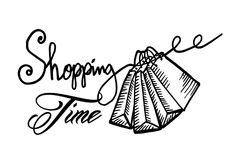 Hand drawn cartoon style shopping bags design with text shopping time. Vector illustration Royalty Free Stock Photo