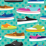 Hand drawn cartoon style skateboarding sneaker shoes vector seamless pattern. Hand drawn cartoon style sneaker shoes vector seamless pattern Royalty Free Stock Photos