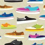Hand drawn cartoon style skateboarding sneaker shoes vector seamless pattern. Hand drawn cartoon style sneaker shoes vector seamless pattern Stock Photo