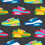 Hand drawn cartoon style sneaker shoes vector seamless pattern grey Royalty Free Stock Photo