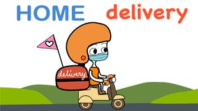 Cute home delivery girl riding scooter cartoon vector