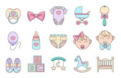 Hand drawn cartoon vector icons set for creating infographics related to children and babies , like pacifier, romper suit, baby bu royalty free illustration