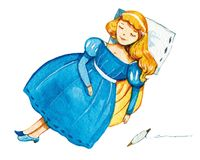 Cartoon illustration of Sleeping beauty stock illustration