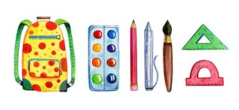 Hand drawn cartoon watercolor set of different school items - backpack, paints, rulers stock illustration