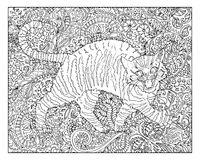 Hand drawn cat against floral pattern background Royalty Free Stock Image
