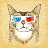 Hand Drawn Cat with 3d Glasses. Vector illustration, eps10. Royalty Free Stock Image
