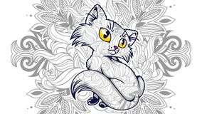 Funny cat in floral background doodle for adult stress release coloring page. Hand drawn cat doodle for adult stress release coloring page stock illustration