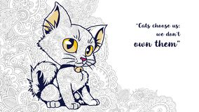 Illustration of cat with quotes doodle for adult stress release coloring page. Hand drawn cat doodle for adult stress release coloring page Stock Images
