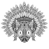 Hand Drawn Cat in Feathered War bonnet in zentangle style, high Royalty Free Stock Photography