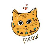 Hand drawn cat, meow lettering text. hearts in eyes, yellow with geometric pattern. Cute cartoon character. Kawaii animal. Love Gr stock illustration