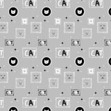 Hand drawn cat pattern background_gray Stock Images