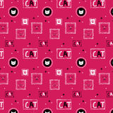 Hand drawn cat pattern background_pink Stock Photos