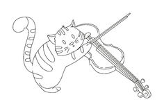 Hand drawn cat playing violin Royalty Free Stock Images