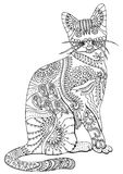 Hand drawn cat. Sketch for anti-stress coloring page. Hand drawn cat. Sketch for anti-stress adult coloring book in zen-tangle style. Vector illustration for stock illustration