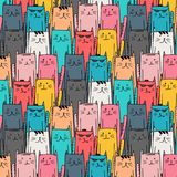 Hand drawn cat vector pattern. Doodle art. Stock Image
