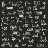 Hand drawn catchwords and ampersands. Stock Photos