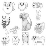 Hand drawn cats and dogs set Stock Photography