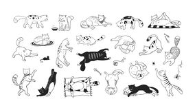 Free Hand Drawn Cats. Funny And Cute Pets, Doodle Black Different Kittens And Cats Sitting Lying And Playing. Vector Ink Stock Photography - 164129452